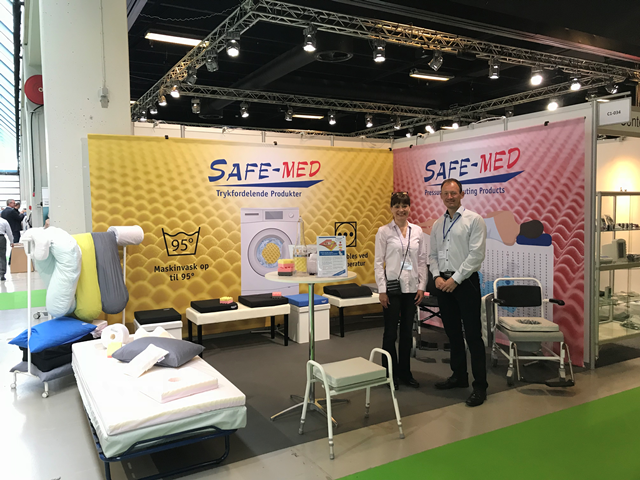 TT SAFE Med exhibit at Health and Rehab Scandinavia with SAFE Med Products for pressure relief and pressure distribution